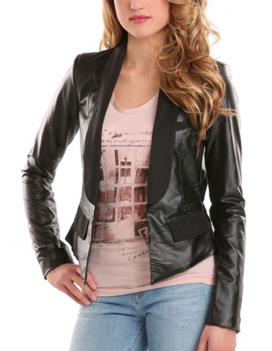 Guess - Shari Faux Lether Blazer - Zwart/Black