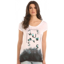 SS RN SEQUINS TEE - Guess - T-shirts - Wit