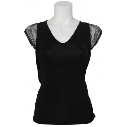Amy Gee top - Kant - Zwart - Black