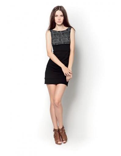 Amy Gee jurk - kanten accent - zwart / black