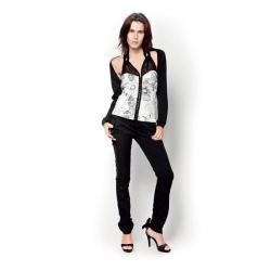 Amy Gee top - getailleerd bloem - Wit - zwart