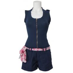Amy Gee - korte broek jumpsuit - donkerblauw