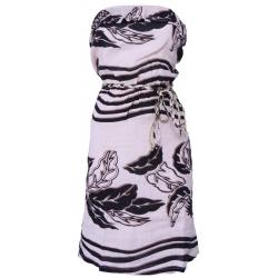 Dept strapless jurk - Flowers - Zalm