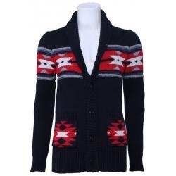 Trui J.C. wintervest - knitted cardigan - zwart - rood